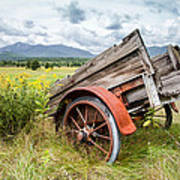 Rustic Landscapes - Wagon And Wildflowers Print by Gary Heller