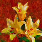 Rustic Lilies 2 Art Print