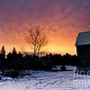 Rustic Winter Sunrise Art Print