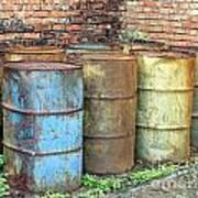 Rusting Oil Barrels Art Print