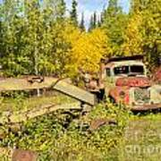 Rusty Truck And Grader Forgotten In Fall Forest Art Print