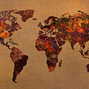 Rusty Vintage World Map On Old Metal Sheet Wall Art Print by Design Turnpike