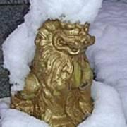 Ryukyuan Shisa Dog With Snow-hawk Art Print