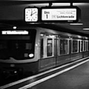 s-bahn train speeding through unter den linden underground station Berlin Germany Art Print