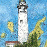 S Manitou Island Lighthouse Mi Nautical Chart Map Art Art Print