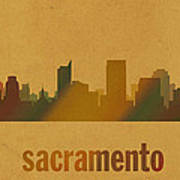 Sacramento California City Skyline Watercolor On Parchment Art Print