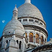 Sacre-coeur And Moon Art Print
