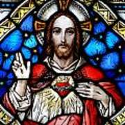 Sacred Heart Of Jesus In Stained Glass Art Print