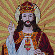 Sacred Heart Of Jesus Hand Embroidery Art Print