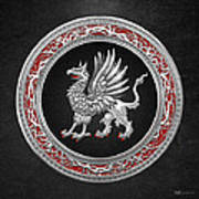 Sacred Silver Griffin On Black Leather Art Print