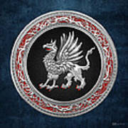 Sacred Silver Griffin On Blue Leather Art Print