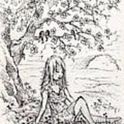 Sad Little Girl Art Print
