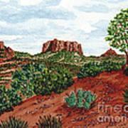 Sadona Two Mountains Art Print