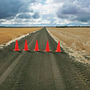 Safety Cones Lined Up Across A Rural Art Print