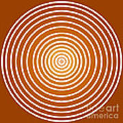 Saffron Colored Abstract Circles Art Print by Frank Tschakert
