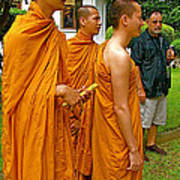 Saffron-robed Monks At Buddhist University In Chiang Mai-thailand Art Print