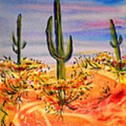 Saguaro Cactus Desert Landscape Art Print