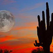 Saguaro Full Moon Sunset Art Print