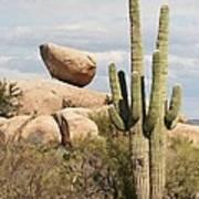Saguaros And Big Rocks Art Print