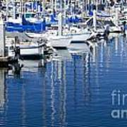 Sail Boats Docked In Marina Art Print