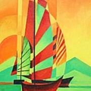 Sail To Shore Art Print by Tracey Harrington-Simpson