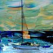 Sailboat And Abstract Art Print