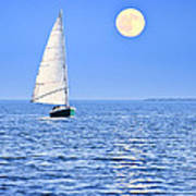 Sailboat At Full Moon Art Print by Elena Elisseeva
