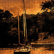 Sailboat By The Bridge Art Print