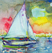 Sailboat Evening Wc On Paper Art Print