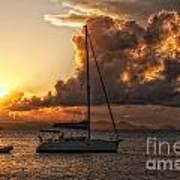 Sailboat In Sunset Art Print