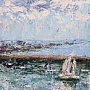 Sailboat In The Waukegan Harbor Art Print