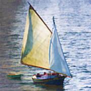 Sailboat Off Marthas Vineyard Massachusetts Art Print by Carol Leigh