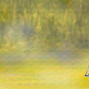 Sailboat On A Yellow Sea Art Print