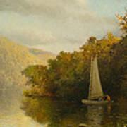 Sailboat On River Art Print
