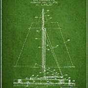 Sailboat Patent From 1932 - Green Art Print
