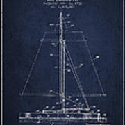 Sailboat Patent From 1932 - Navy Blue Art Print