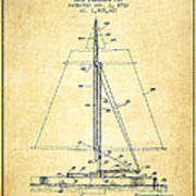 Sailboat Patent From 1932 - Vintage Art Print