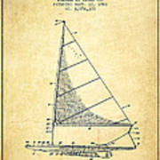 Sailboat Patent From 1962 - Vintage Art Print