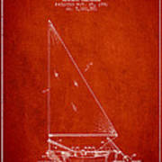Sailboat Patent From 1991- Red Art Print