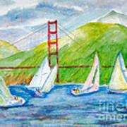 Sailboat Race At The Golden Gate Art Print