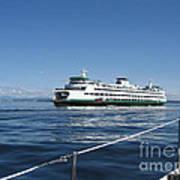 Sailboat Sees Ferryboat Art Print