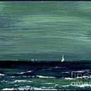 Sailboats Across A Rough Surf Ventura Art Print by Cathy Peterson