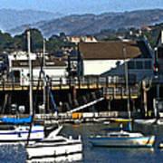 Sailboats Anchored At Mooring Art Print