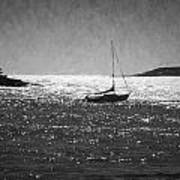 Sailboat And Islands In Maine Art Print