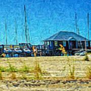 Sailboats Boat Harbor - Quiet Day At The Harbor Art Print