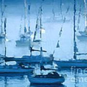 Sailboats In The Fog II Art Print