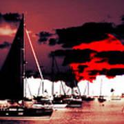 Sailboats In The Marina Surreal 2 Art Print