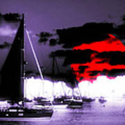 Sailboats In The Marina Surreal 3 Art Print