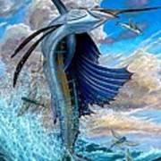 Sailfish And Flying Fish Art Print by Terry Fox