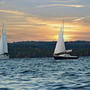 Sailing At Sunset Art Print by Steven Michael